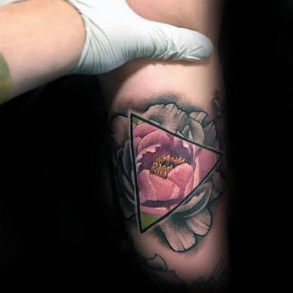 triangle-peony-color-illusion-tattoo-on-inner-arm