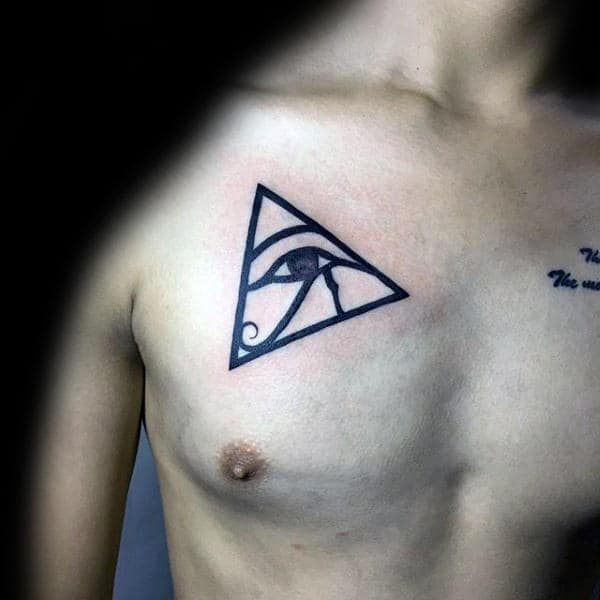 Triangle Pyramid Eye Of Horus Mens Upper Chest Tattoo