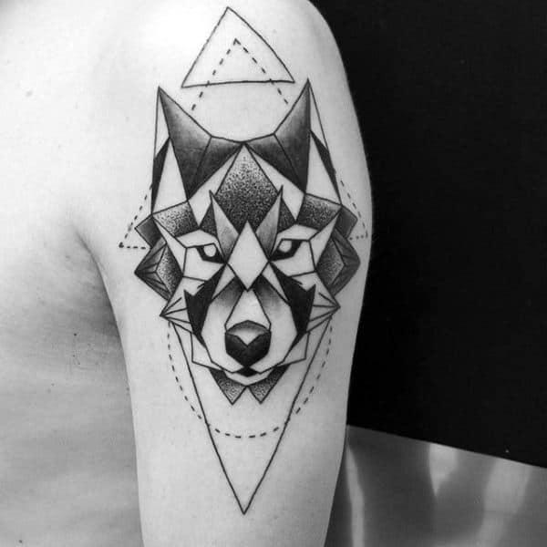 Triangle Shaded Black Ink Geometric Wolf Guys Tattoos On Upper Arm