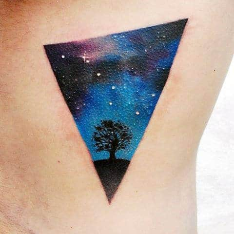 Triangle Small Simple Stars In Sky Mens Ribs Tattoo