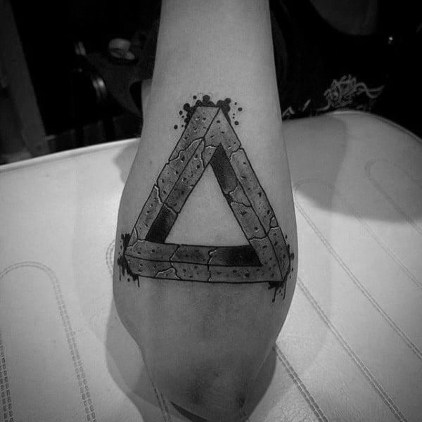 Triangle Stone Mens Outer Forearm Tattoos