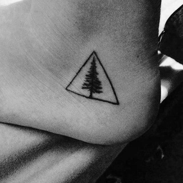 Triangle Tree Mens Small Foot Tattoos
