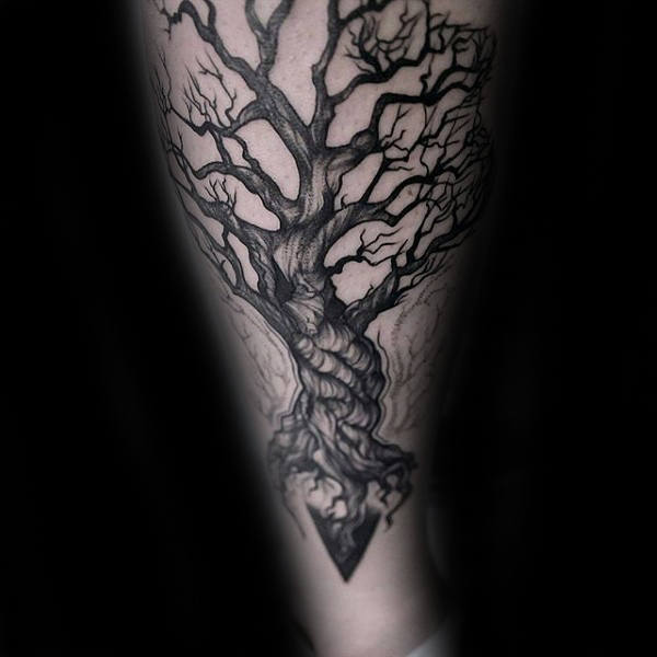 Triangle Tree Roots Mens Arm Tattoos