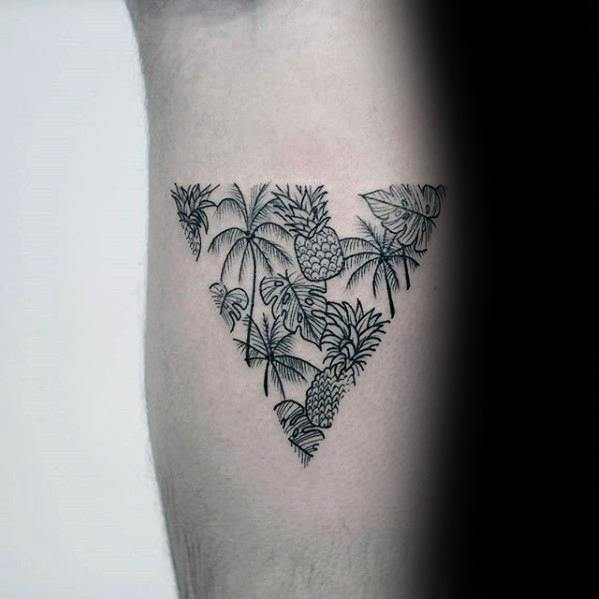 Triangle Tropical Palm Tree With Pinapples Small Detailed Guys Tattoos