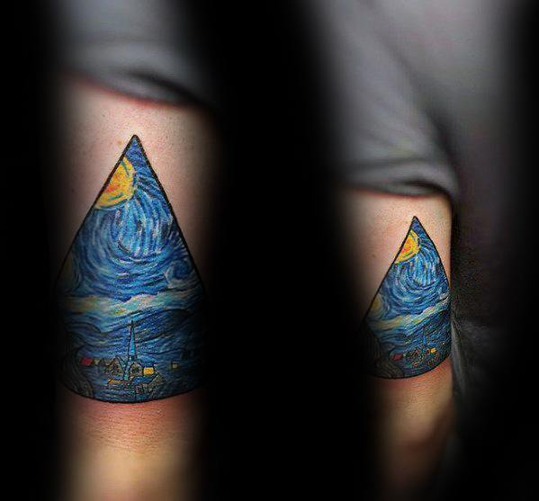 Triangle Vincent Van Gogh Mens Tricep Tattoos