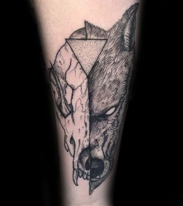 Triangle Wolf Skull Male Forearm Tattoos