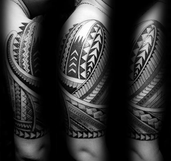 Triangles Half Sleeve Tribal Guys Black Ink Tattoos