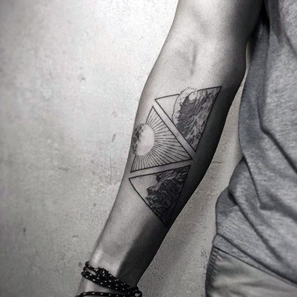 Triangles Ocean With Sun Guys Small Forearm Tattoo