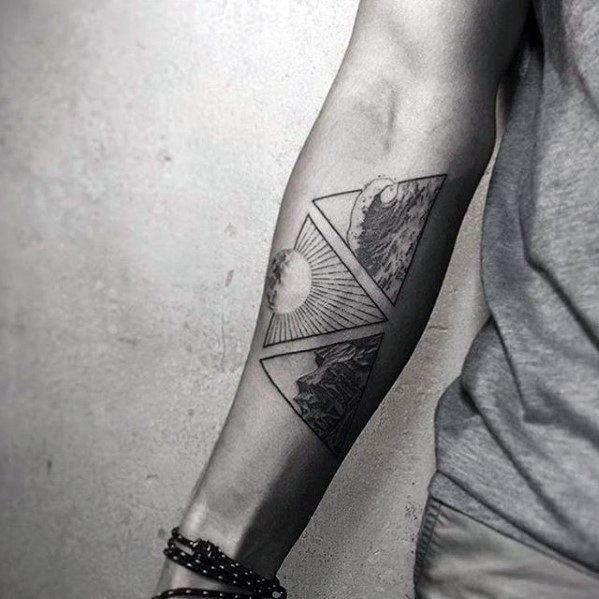 Triangles Ocean With Sun Guys Small Forearm Tattoo