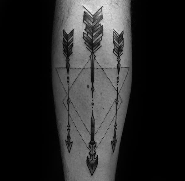 Triangles With Arrows Guys Simple Leg Tattoo