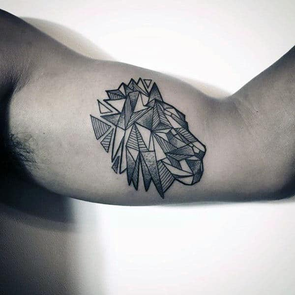Triangular Design Of Lion Dotwork Tattoo Guys Arms