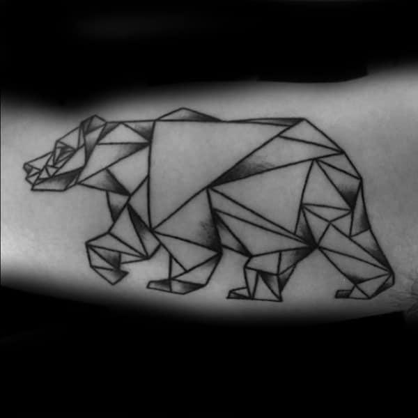 Triangular Geometric Bear Mens Bicep Tattoo Design Ideas