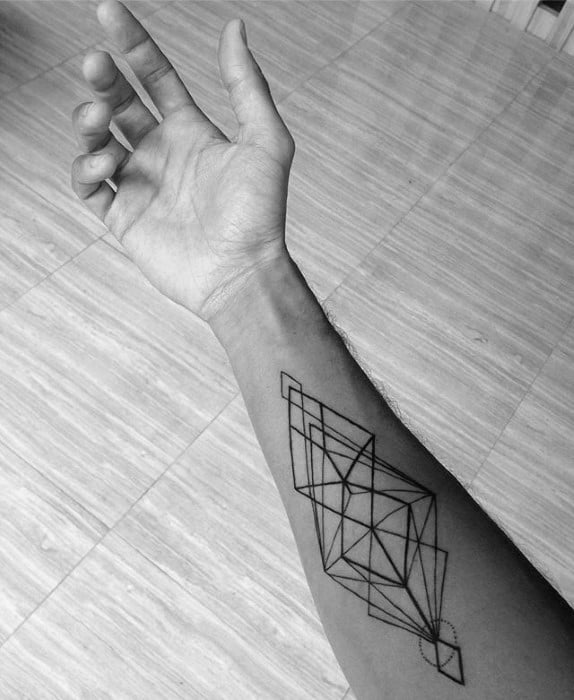 Triangular Lines Mens Simple Tattoo Ideas On Inner Forearm