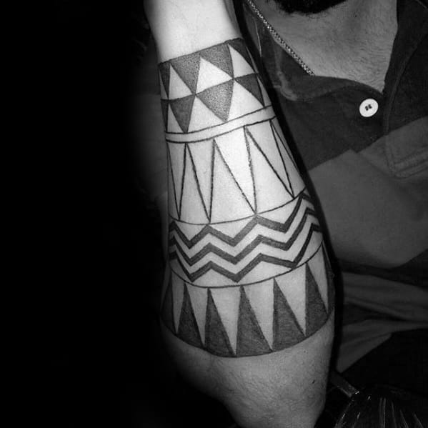 Triangular Male Forearm Band Sleeve Tattoos