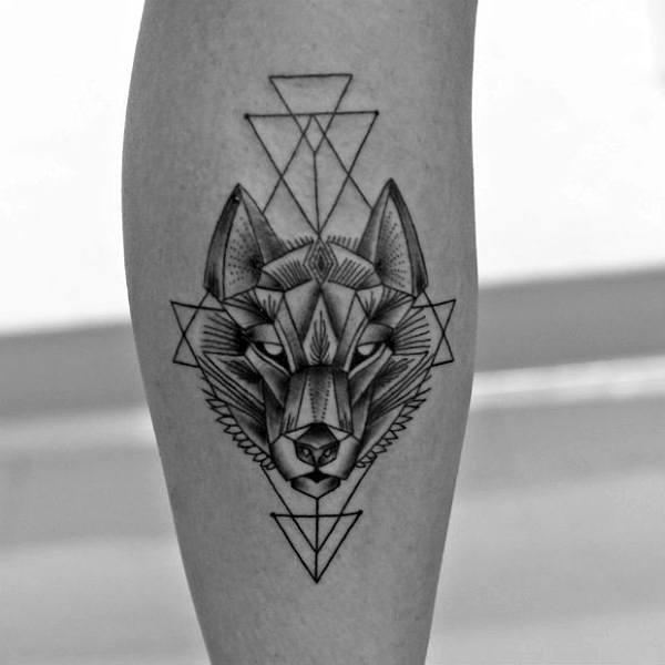 Triangular Male Geometric Wolf Leg Calf Tattoos