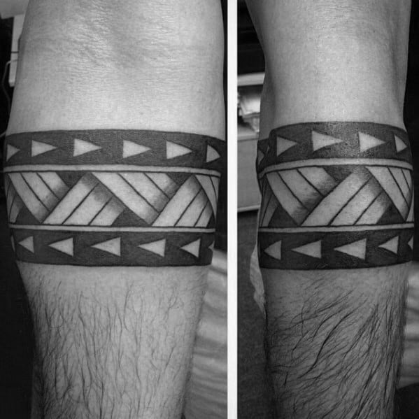 Triangular Tribal Male Armband Tattoos