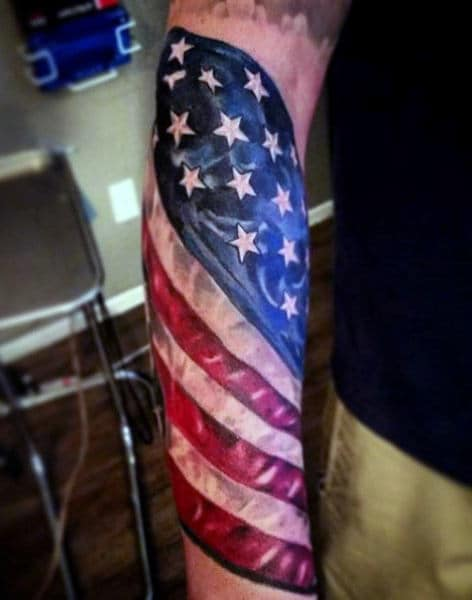 Tribal American Flag Tattoo For Males