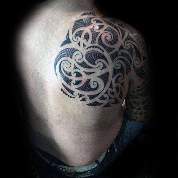 Tribal Arm And Back Mens Tattoo Design