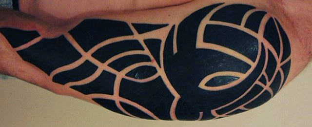 75 Tribal Arm Tattoos For Men – Interwoven Line Design Ideas