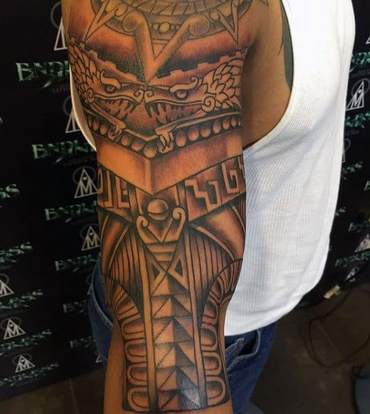 Tribal Aztec Eagle Tattoo For Men Sleeve