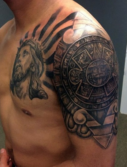 Tribal Aztec Tattoo For Men On Upper Arm