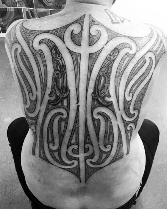 Tribal Back Mens Sick Negative Space Tattoo Ideas