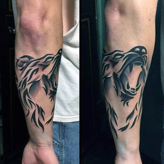 Tribal Bear Awesome Mens Forearm Tattoo