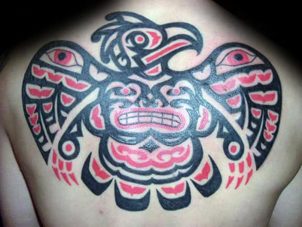 Tribal Bird Mens Upper Back Tattoo With Red And Black Design