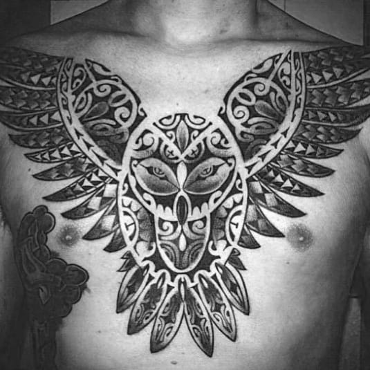 Tribal Bird Owl Mens Polynesian Chest Tattoos
