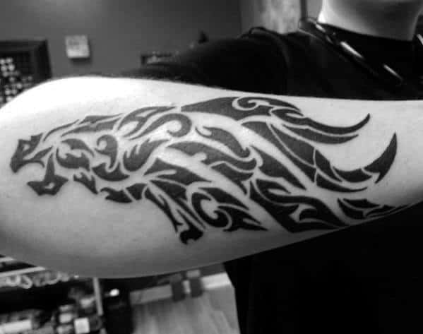 Tribal Black Ink Denver Broncos Guys Outer Forearm Tattoo Designs