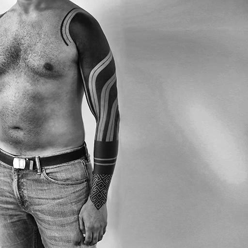 Tribal Black Work Line Tattoos For Guys Full Sleeve