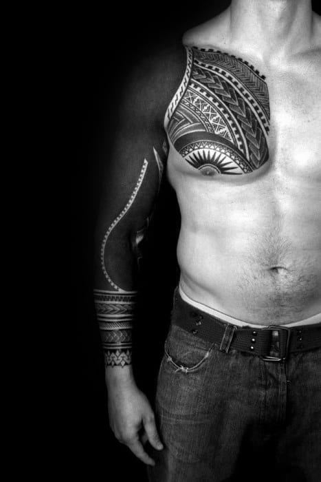 Tribal Blackout Sleeve Tattoo On Men