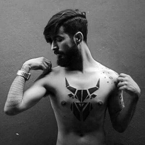 Tribal Blackwork Bull Head Unique Chest Tattoos For Guys