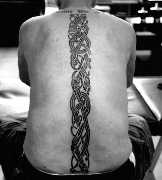Tribal Blackwork Mens Spine Tattoos