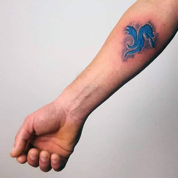 Tribal Blue Ink Dragon 3d Mens Inner Forearm Small Tattoos