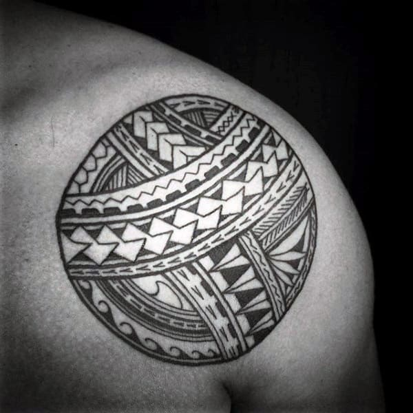 Tribal Circle Upper Shoulder Male Tattoos