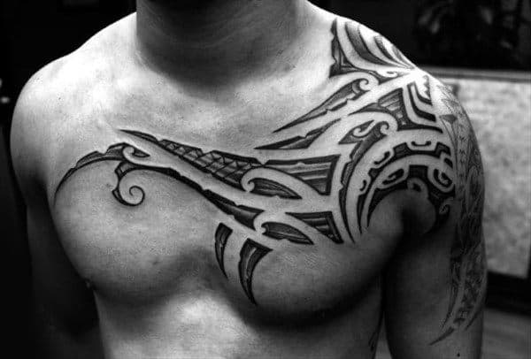 Tribal Collar Bone Guys Tattoo Ideas