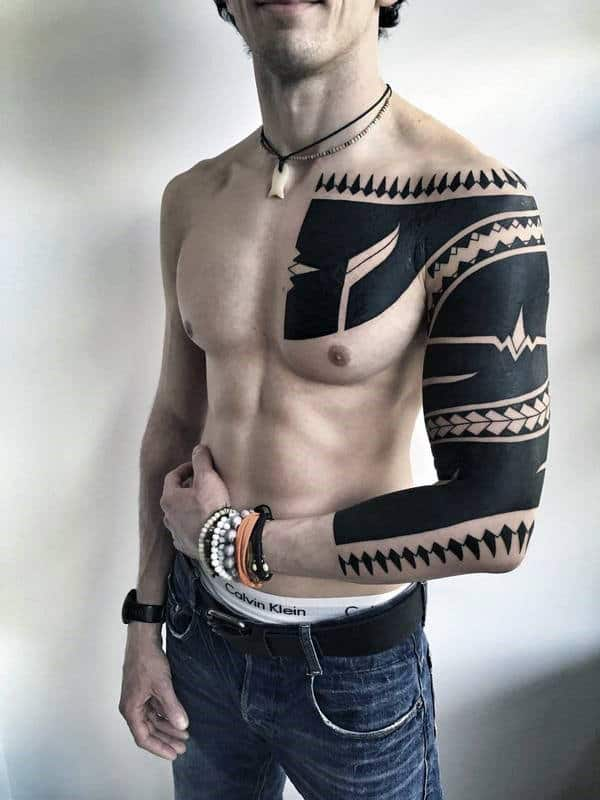 Men Minimalist Chest Tattoo: 50 Tribal Chest Tattoos For Men