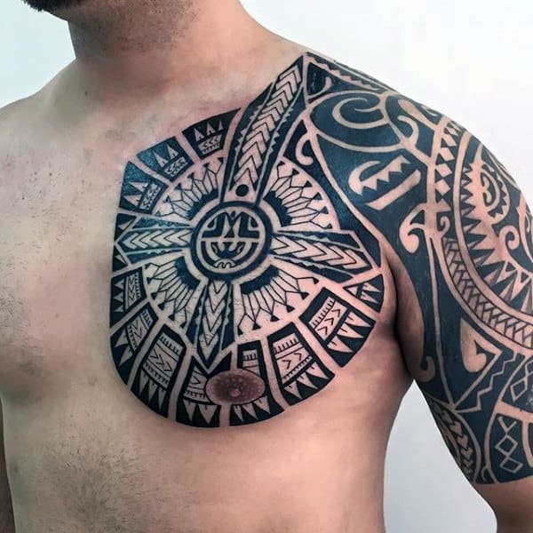 tribal tattoo shoulder and chest wwwpixsharkcom