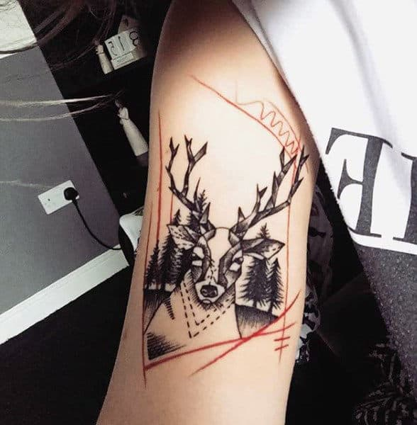 90 deer tattoos for men manly outdoor designs for Deer antlers tattoo