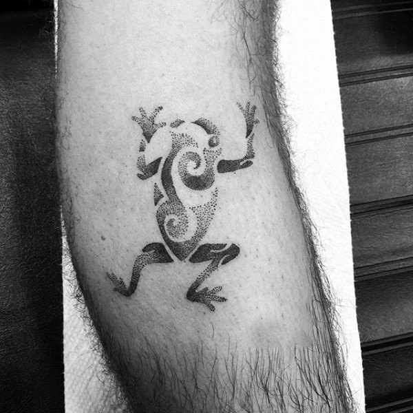 Tribal Dotwork Mens Frog Tattoo Inspiration