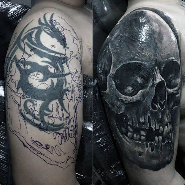 Tribal Dragon To Skull Before And After Mens Arm Cover Up Tattoos