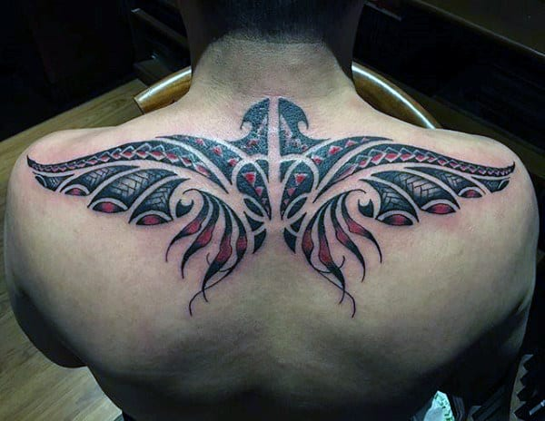Tribal Eagle Guys Upper Back Tattoos