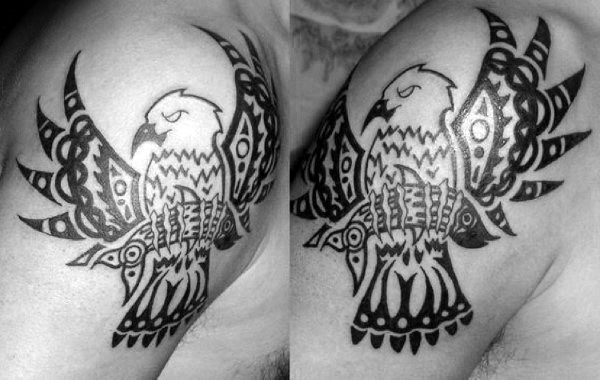 Tribal Eagle With Fish In Claws Mens Upper Arm Tattoo