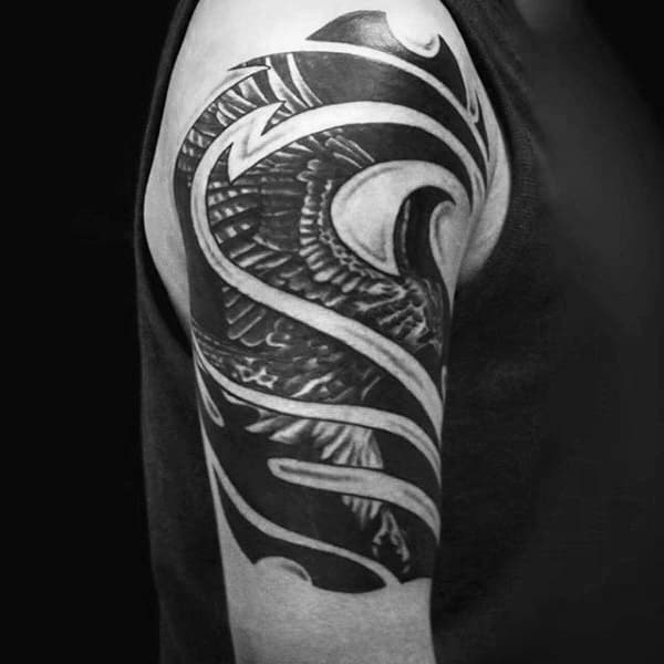 Tribal Falcon Mens Upper Arm Tattoos