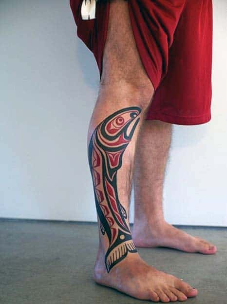 Tribal Fish Mens Red And Black Ink Haida Tattoos On Leg