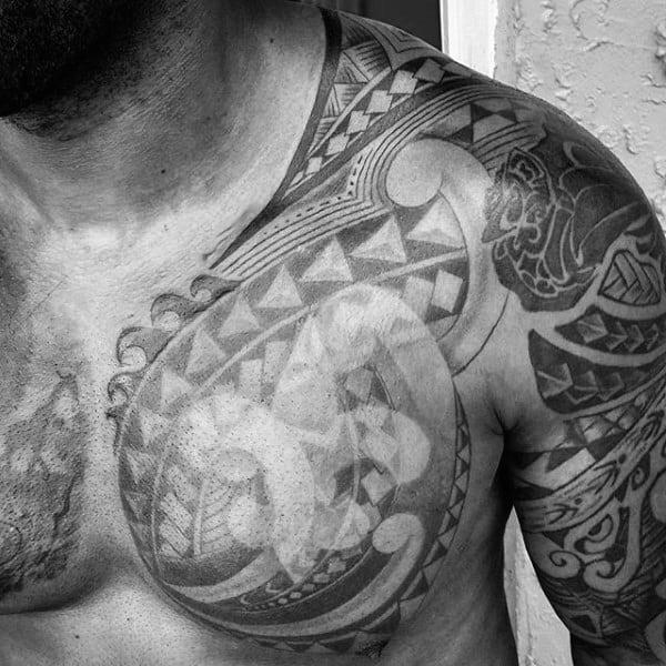 Tribal Fleur De Lis Mens Chest Tattoo