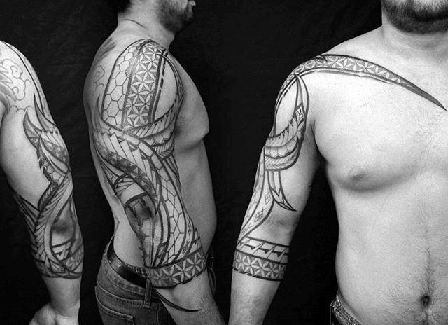 Tribal Flower Of Life Male Arm Tattoos