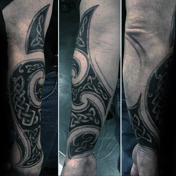 Tribal Forearm Celtic Knot Mens Tattoo Ideas