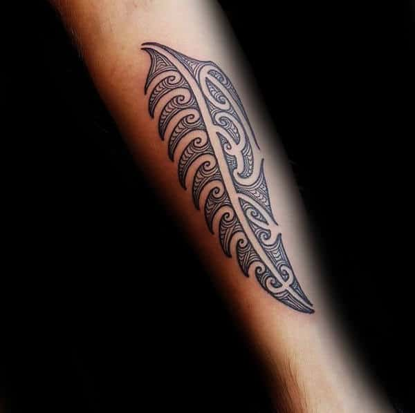 Tribal Forearm Male Fern Tattoo Ideas